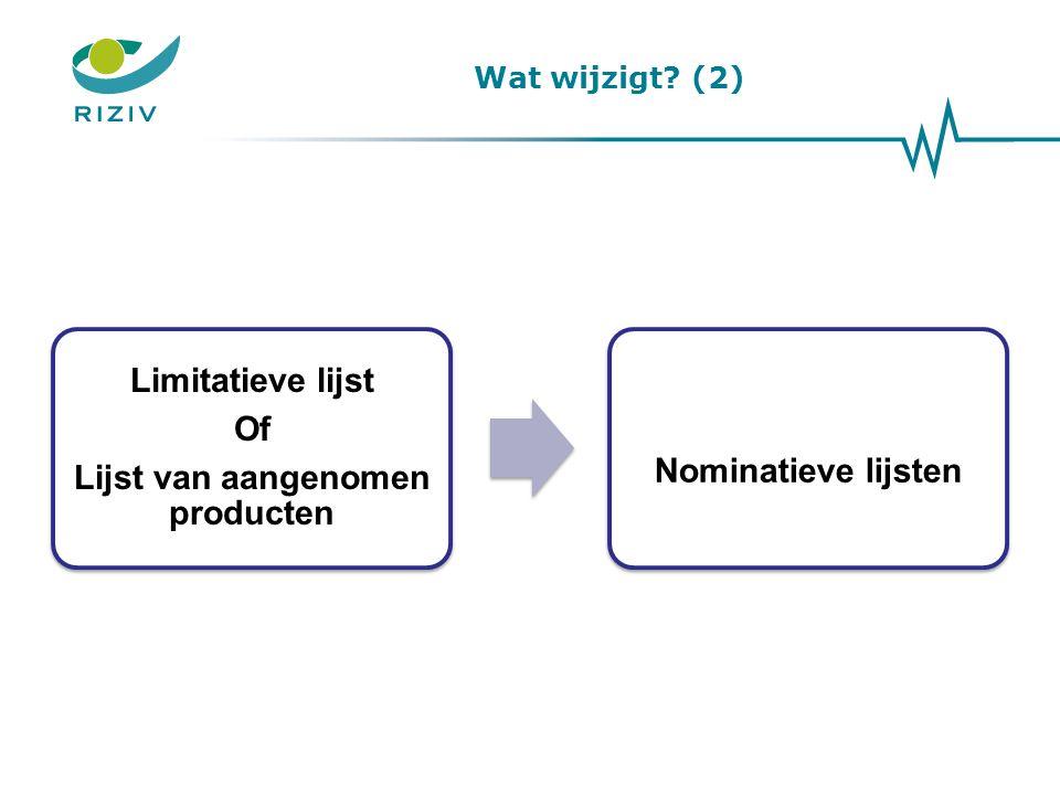 Wat wijzigt? (2) Limitatieve lijst Of Lijst van aangenomen producten Nominatieve lijsten