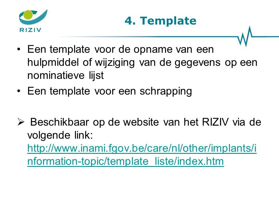 4. Template Een template voor de opname van een hulpmiddel of wijziging van de gegevens op een nominatieve lijst Een template voor een schrapping  Be