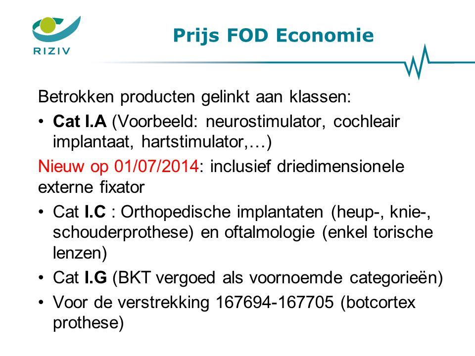 Prijs FOD Economie Betrokken producten gelinkt aan klassen: Cat I.A (Voorbeeld: neurostimulator, cochleair implantaat, hartstimulator,…) Nieuw op 01/0