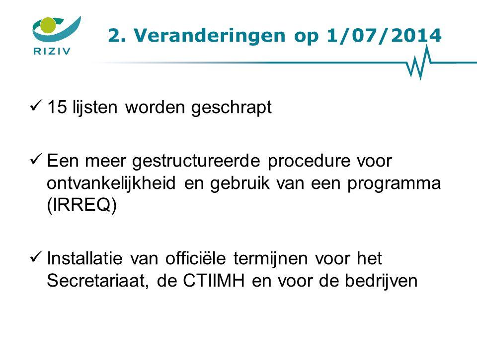 2. Veranderingen op 1/07/2014 15 lijsten worden geschrapt Een meer gestructureerde procedure voor ontvankelijkheid en gebruik van een programma (IRREQ