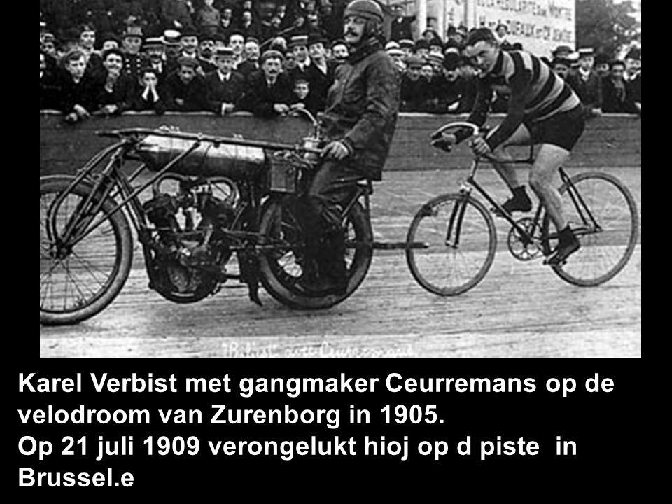 Karel Verbist met gangmaker Ceurremans op de velodroom van Zurenborg in 1905.