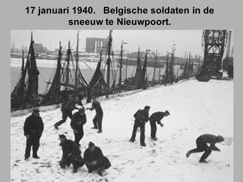 17 januari 1940. Belgische soldaten in de sneeuw te Nieuwpoort.