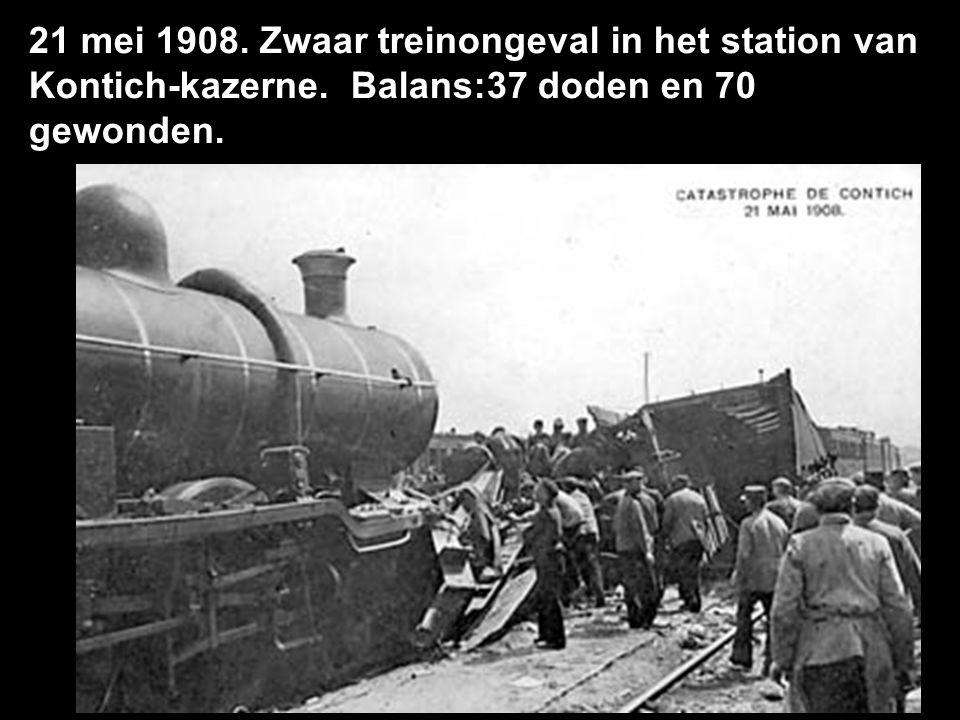 21 mei 1908. Zwaar treinongeval in het station van Kontich-kazerne. Balans:37 doden en 70 gewonden.