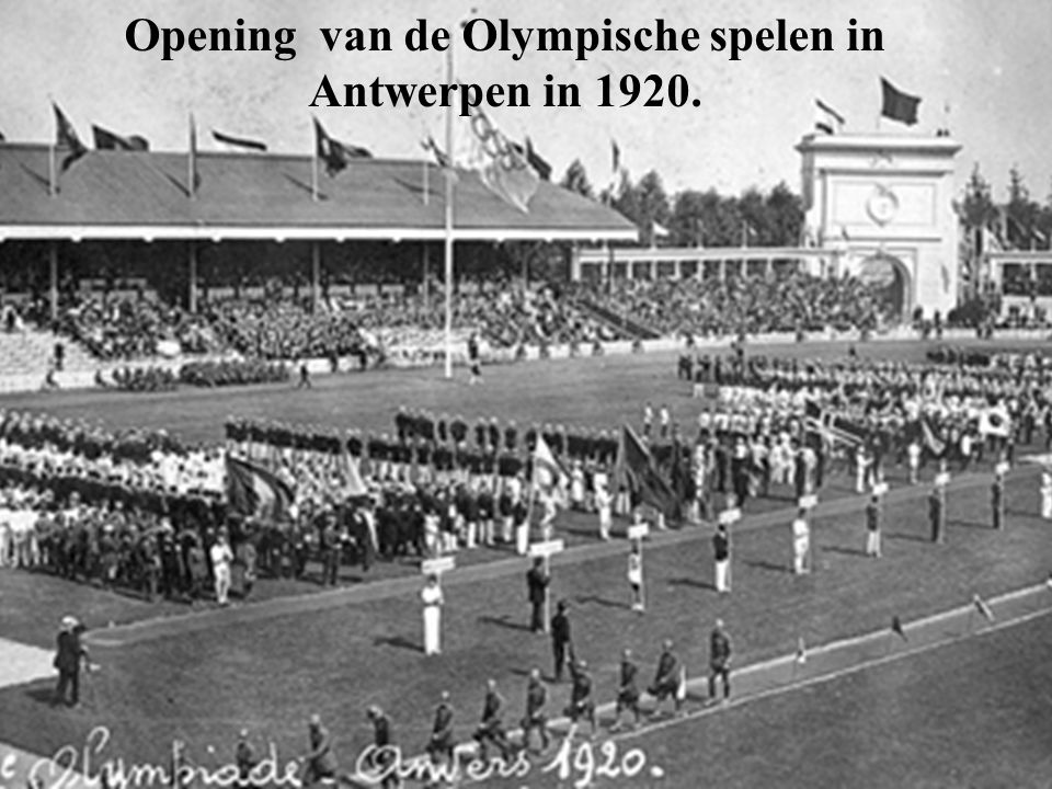 Opening van de Olympische spelen in Antwerpen in 1920.