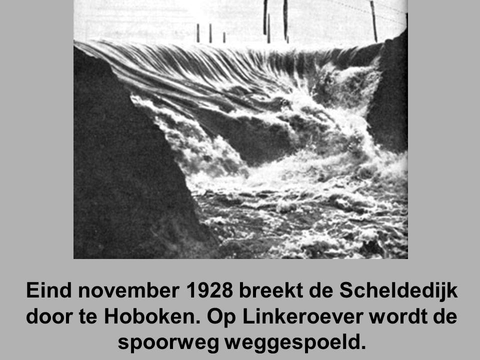Eind november 1928 breekt de Scheldedijk door te Hoboken.