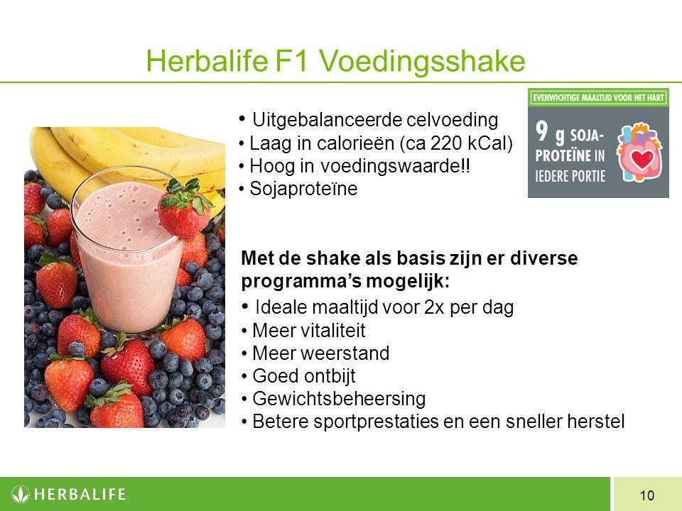 10 Herbalife F1 Voedingsshake Uitgebalanceerde celvoeding Laag in calorieën (ca 220 kCal) Hoog in voedingswaarde!! Sojaproteïne Met de shake als basis
