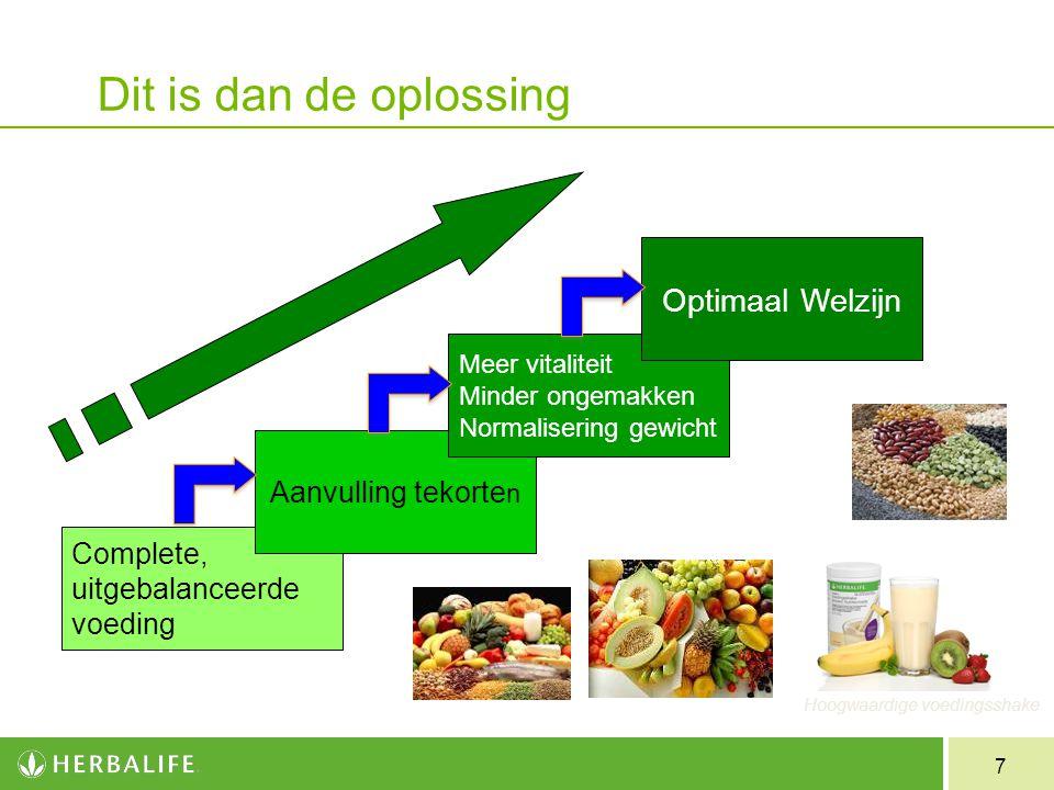 7 Dit is dan de oplossing Complete, uitgebalanceerde voeding Aanvulling tekorte n Meer vitaliteit Minder ongemakken Normalisering gewicht Optimaal Wel
