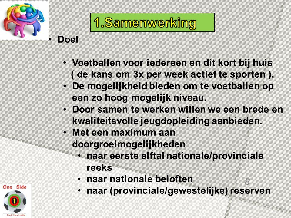 Doel Voetballen voor iedereen en dit kort bij huis ( de kans om 3x per week actief te sporten ). De mogelijkheid bieden om te voetballen op een zo hoo
