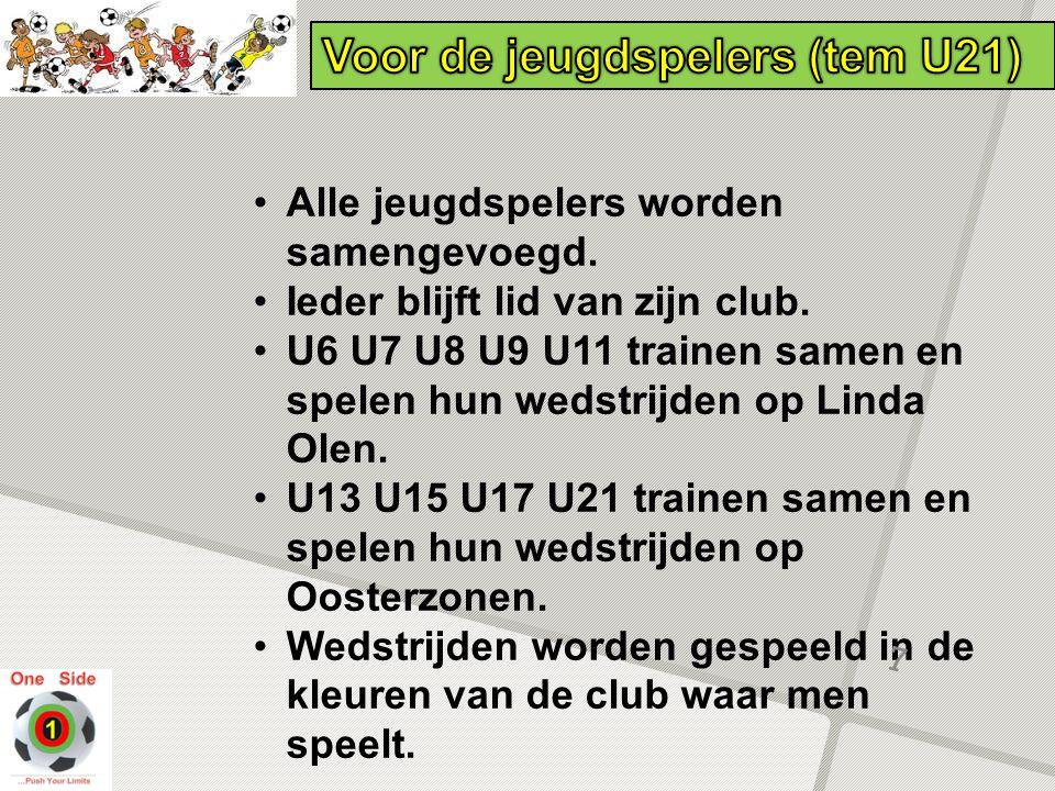 Alle jeugdspelers worden samengevoegd. Ieder blijft lid van zijn club. U6 U7 U8 U9 U11 trainen samen en spelen hun wedstrijden op Linda Olen. U13 U15
