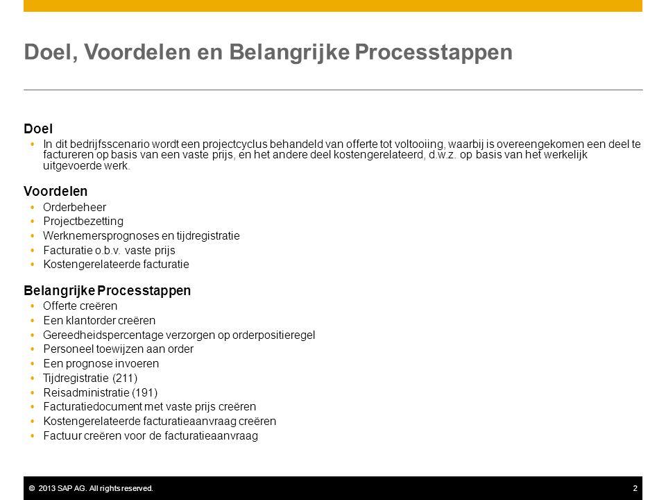 ©2013 SAP AG. All rights reserved.2 Doel, Voordelen en Belangrijke Processtappen Doel  In dit bedrijfsscenario wordt een projectcyclus behandeld van