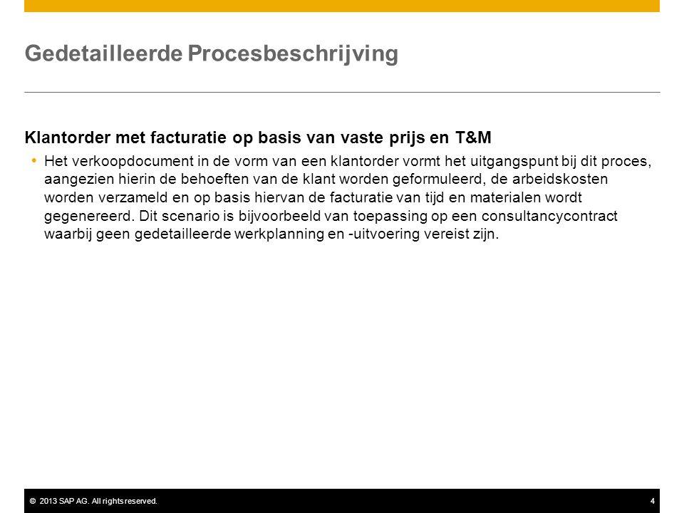 ©2013 SAP AG. All rights reserved.4 Gedetailleerde Procesbeschrijving Klantorder met facturatie op basis van vaste prijs en T&M  Het verkoopdocument