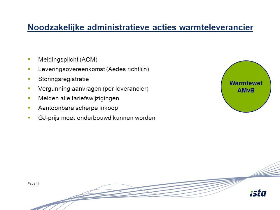  Meldingsplicht (ACM)  Leveringsovereenkomst (Aedes richtlijn)  Storingsregistratie  Vergunning aanvragen (per leverancier)  Melden alle tariefsw