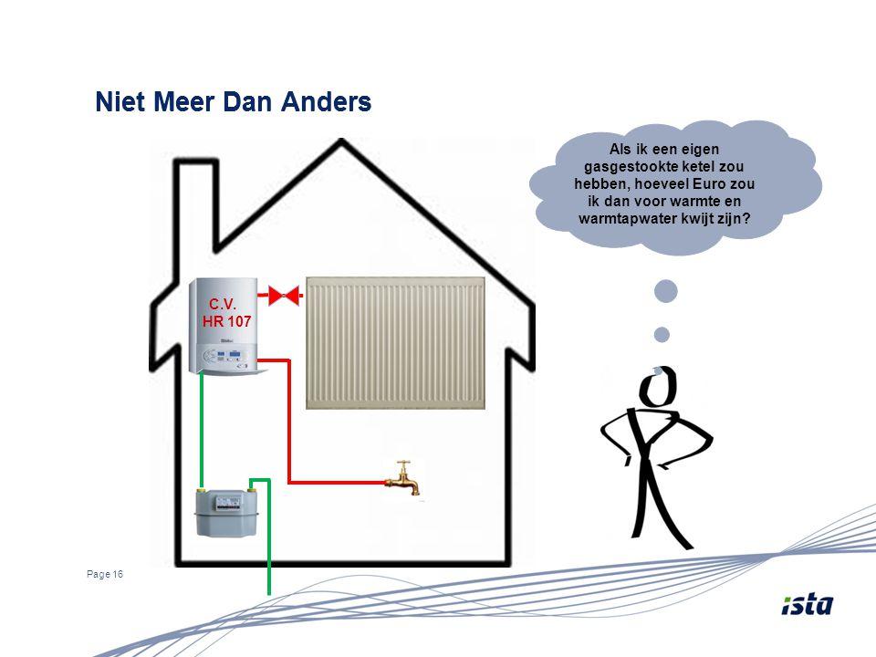 Page 16 Niet Meer Dan Anders Als ik een eigen gasgestookte ketel zou hebben, hoeveel Euro zou ik dan voor warmte en warmtapwater kwijt zijn? C.V. HR 1
