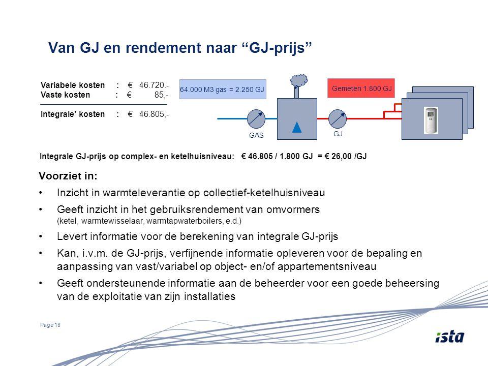 """Van GJ en rendement naar """"GJ-prijs"""" Page 18 GAS GJ Variabele kosten : € 46.720.- Vaste kosten : € 85,- Integrale' kosten : € 46.805,- Integrale GJ-pri"""