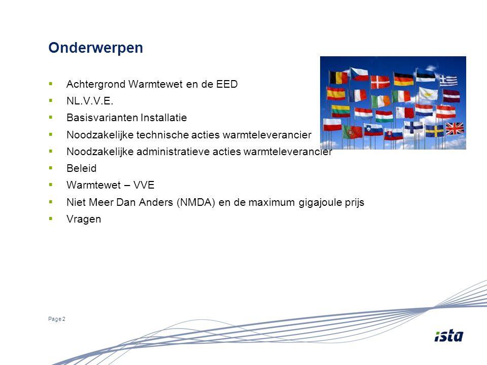 Onderwerpen  Achtergrond Warmtewet en de EED  NL.V.V.E.  Basisvarianten Installatie  Noodzakelijke technische acties warmteleverancier  Noodzakel