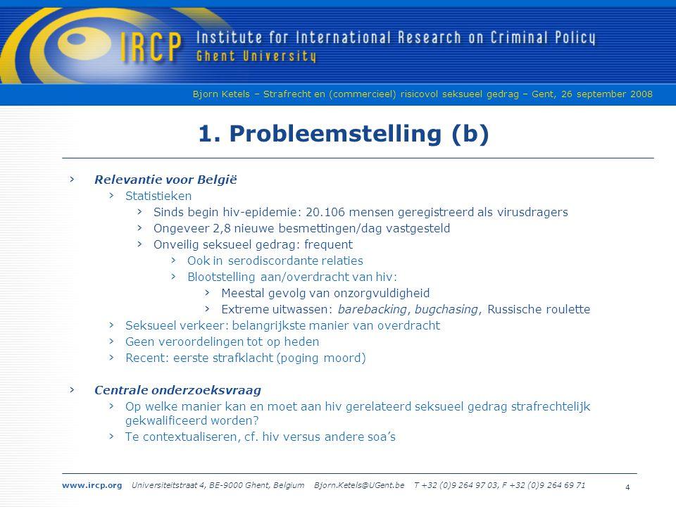 www.ircp.org Universiteitstraat 4, BE-9000 Ghent, Belgium Bjorn.Ketels@UGent.be T +32 (0)9 264 97 03, F +32 (0)9 264 69 71 Bjorn Ketels – Strafrecht en (commercieel) risicovol seksueel gedrag – Gent, 26 september 2008 1.