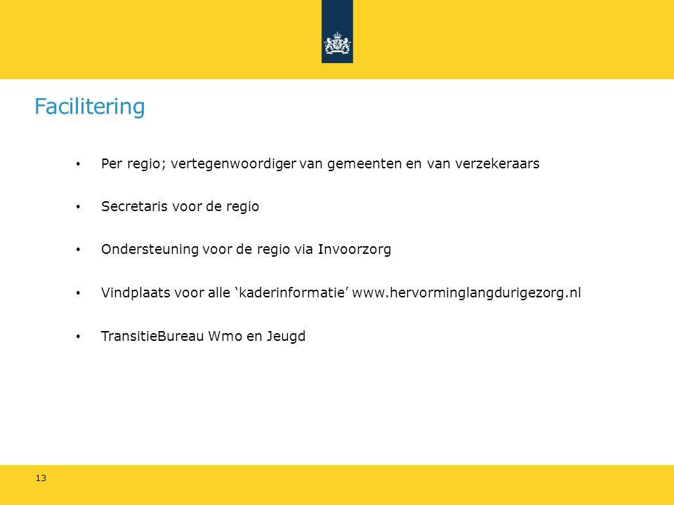 Facilitering Per regio; vertegenwoordiger van gemeenten en van verzekeraars Secretaris voor de regio Ondersteuning voor de regio via Invoorzorg Vindpl