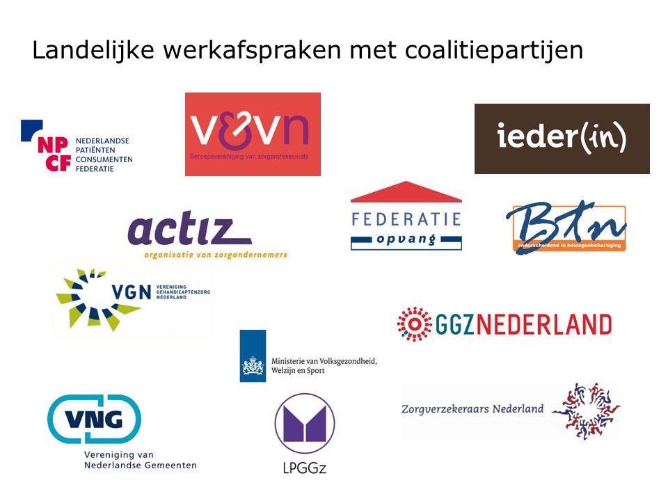 Landelijke werkafspraken met coalitiepartijen