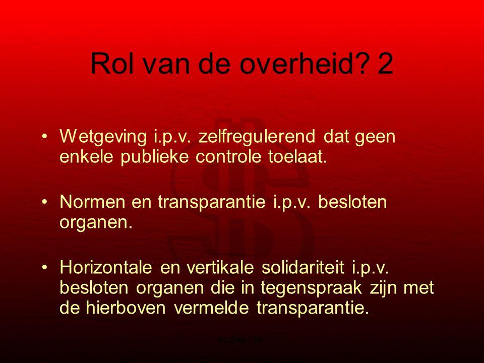 podajk/ fan Rol van de overheid. 2 Wetgeving i.p.v.