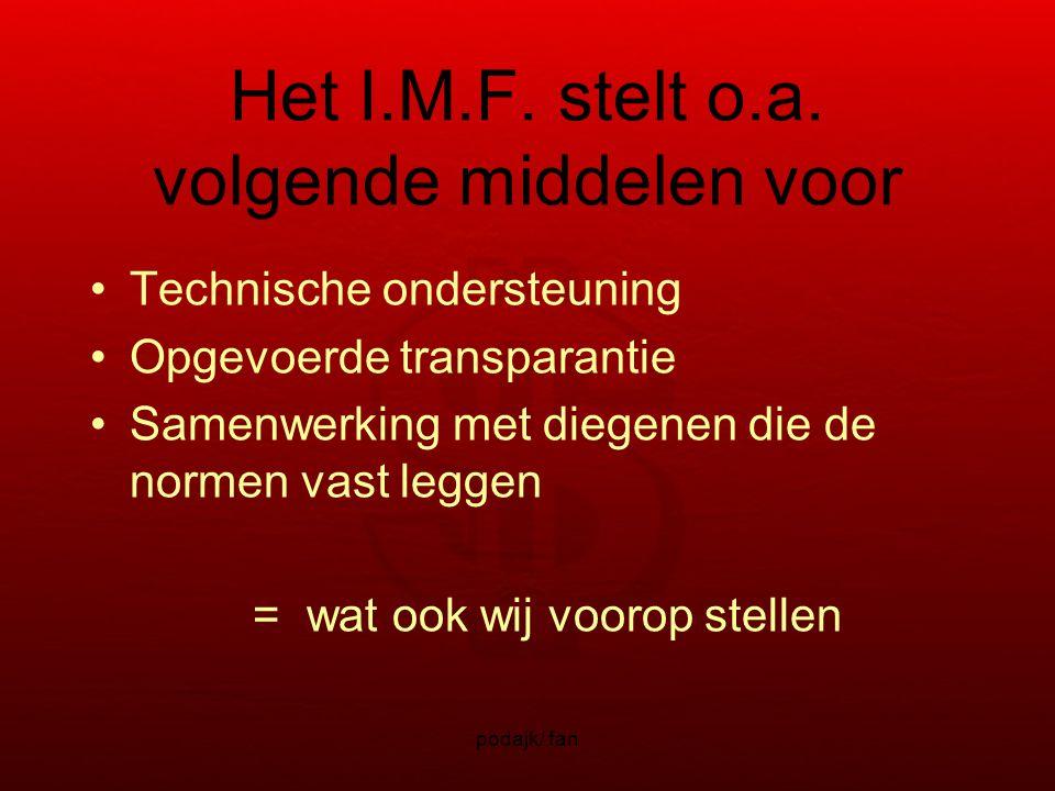 podajk/ fan Het I.M.F. stelt o.a.