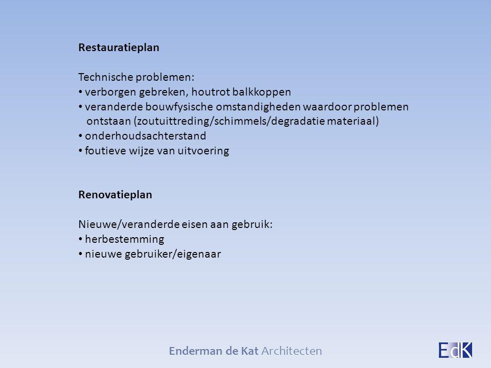 Enderman de Kat Architecten Restauratieplan Technische problemen: verborgen gebreken, houtrot balkkoppen veranderde bouwfysische omstandigheden waardo
