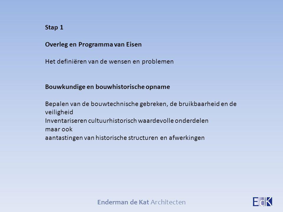 Enderman de Kat Architecten Stap 1 Overleg en Programma van Eisen Het definiëren van de wensen en problemen Bouwkundige en bouwhistorische opname Bepa