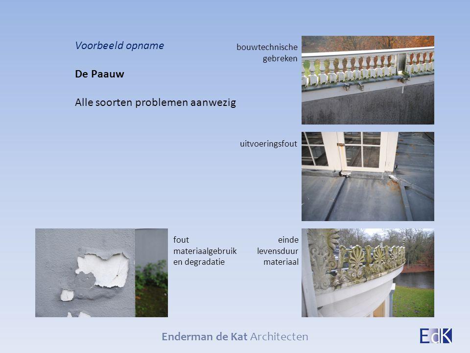 Enderman de Kat Architecten Voorbeeld opname De Paauw Alle soorten problemen aanwezig bouwtechnische gebreken uitvoeringsfout einde levensduur materia