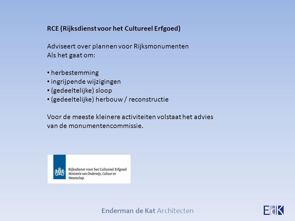 Enderman de Kat Architecten RCE (Rijksdienst voor het Cultureel Erfgoed) Adviseert over plannen voor Rijksmonumenten Als het gaat om: herbestemming in