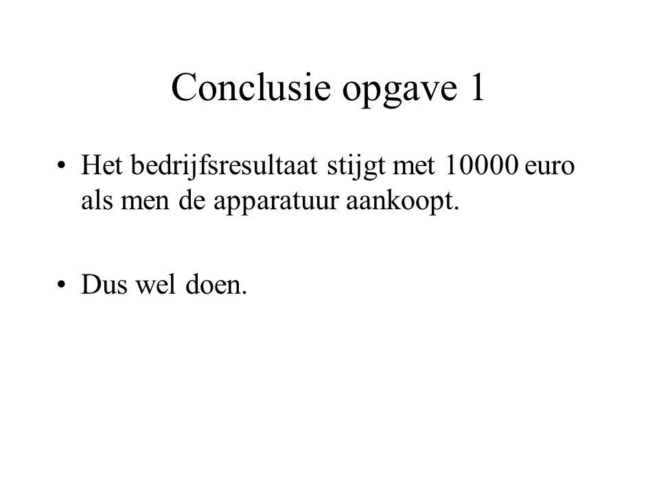 Conclusie opgave 1 Het bedrijfsresultaat stijgt met 10000 euro als men de apparatuur aankoopt. Dus wel doen.