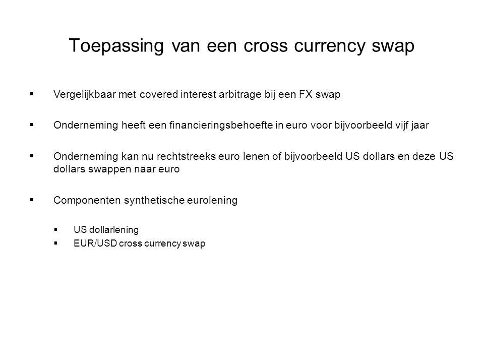Toepassing van een cross currency swap  Vergelijkbaar met covered interest arbitrage bij een FX swap  Onderneming heeft een financieringsbehoefte in