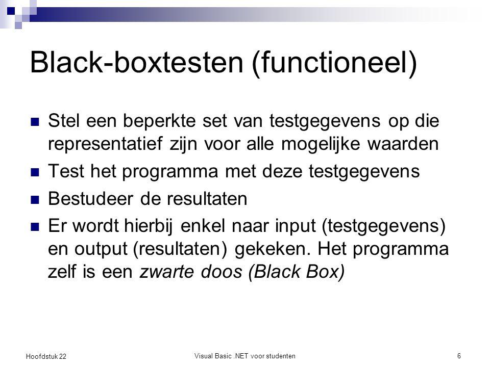 Hoofdstuk 22 Visual Basic.NET voor studenten7 Black-boxtesten: voorbeeld Voer leeftijd in Toon Best Wishes Je mag stemmen Je mag niet stemmen [leeftijd > 17] [leeftijd <= 17]