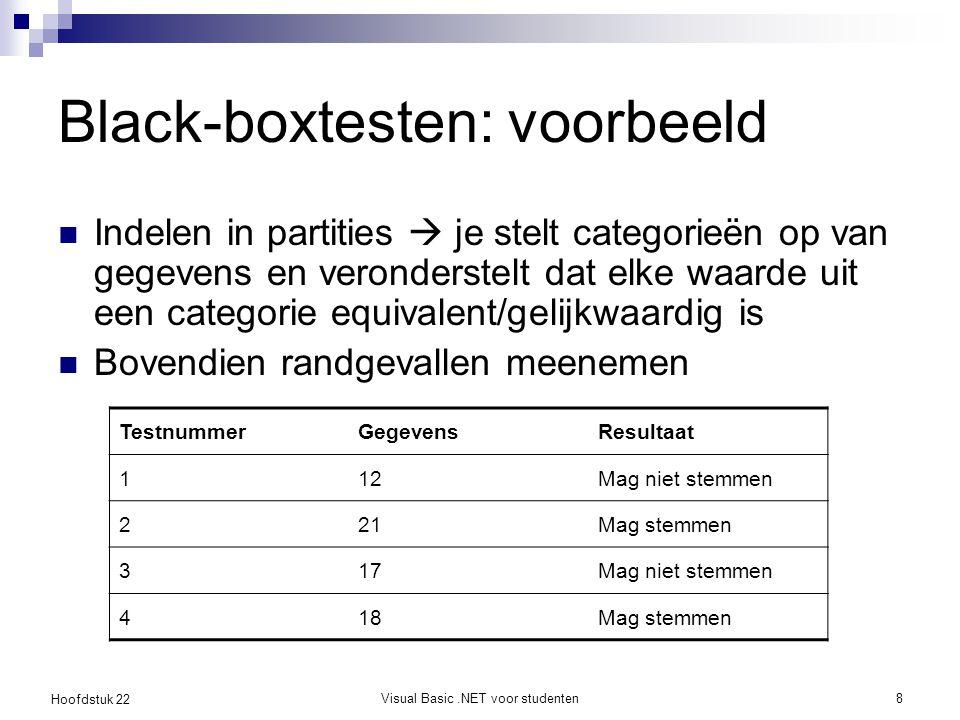 Hoofdstuk 22 Visual Basic.NET voor studenten9 Black-boxtesten: strategie 1.