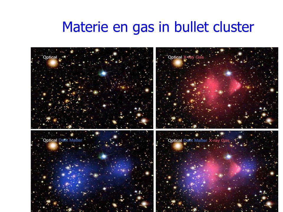 Materie en gas in bullet cluster
