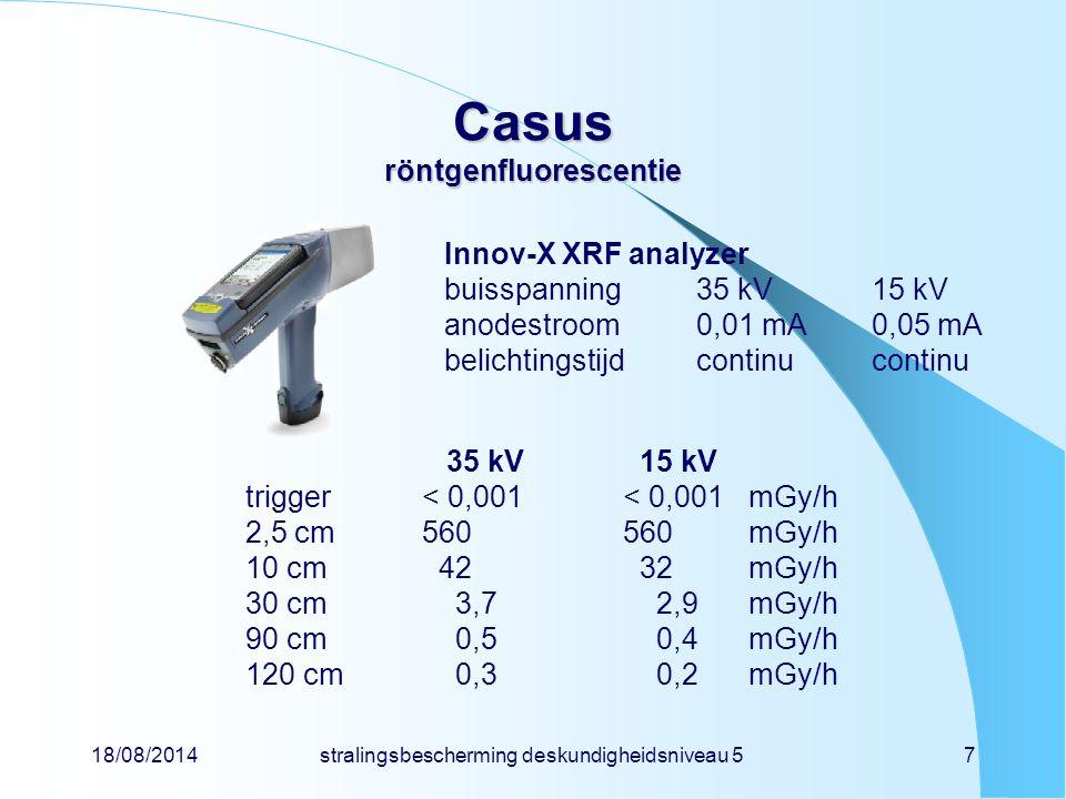 18/08/2014stralingsbescherming deskundigheidsniveau 57 Casus röntgenfluorescentie Innov-X XRF analyzer buisspanning35 kV15 kV anodestroom0,01 mA0,05 m