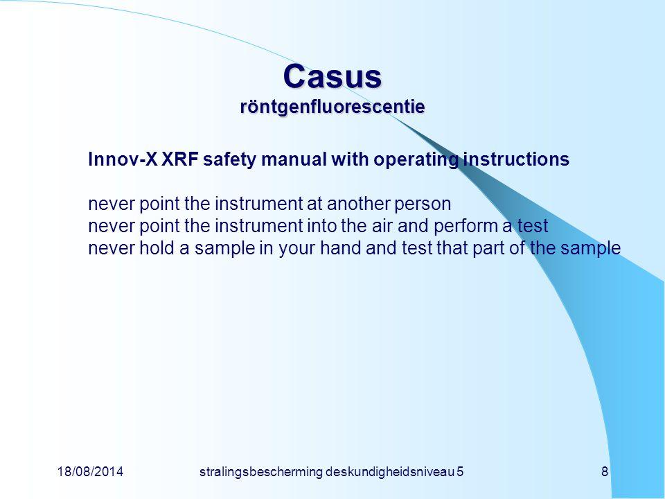 18/08/2014stralingsbescherming deskundigheidsniveau 58 Casus röntgenfluorescentie Innov-X XRF safety manual with operating instructions never point th