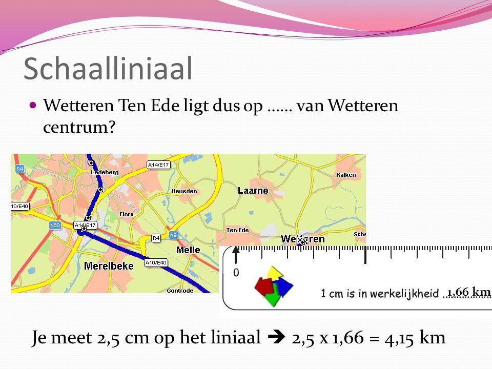 Schaalliniaal Wetteren Ten Ede ligt dus op …… van Wetteren centrum? 1,66 km Je meet 2,5 cm op het liniaal  2,5 x 1,66 = 4,15 km