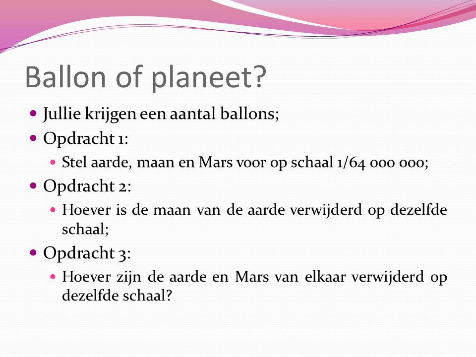 Ballon of planeet? Jullie krijgen een aantal ballons; Opdracht 1: Stel aarde, maan en Mars voor op schaal 1/64 000 000; Opdracht 2: Hoever is de maan