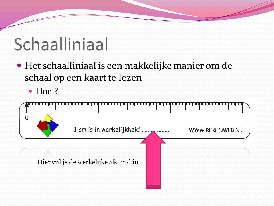 Schaalliniaal Het schaalliniaal is een makkelijke manier om de schaal op een kaart te lezen Hoe ? Hier vul je de werkelijke afstand in