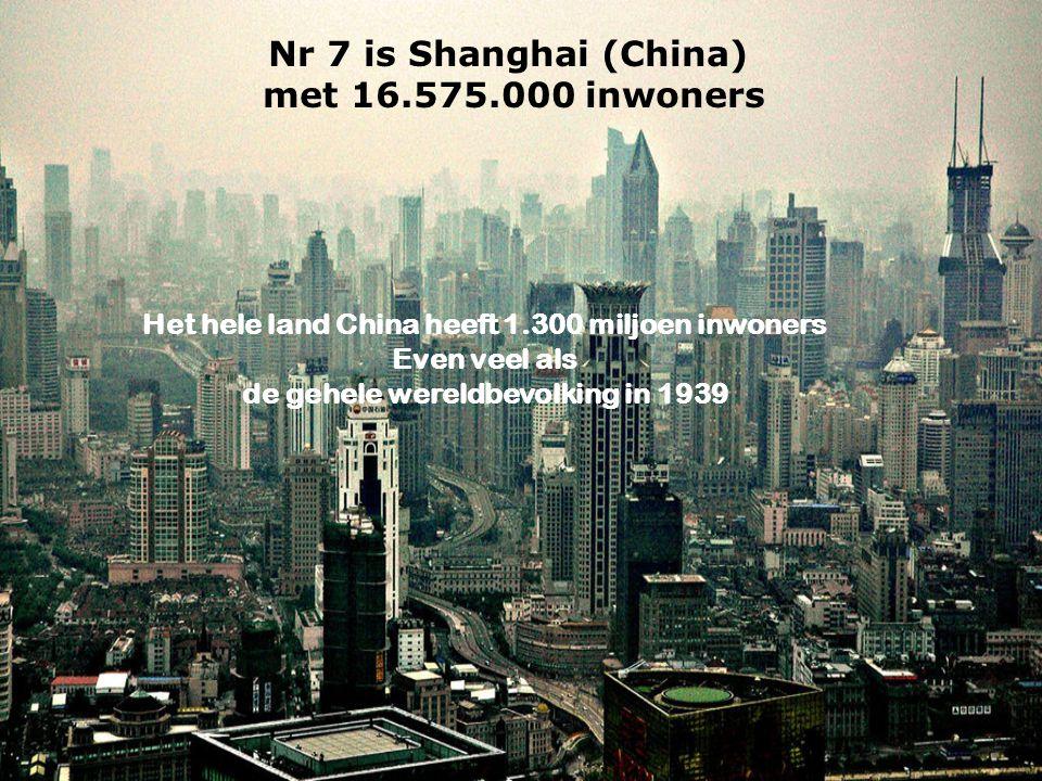 Nr 7 is Shanghai (China) met 16.575.000 inwoners Het hele land China heeft 1.300 miljoen inwoners Even veel als de gehele wereldbevolking in 1939