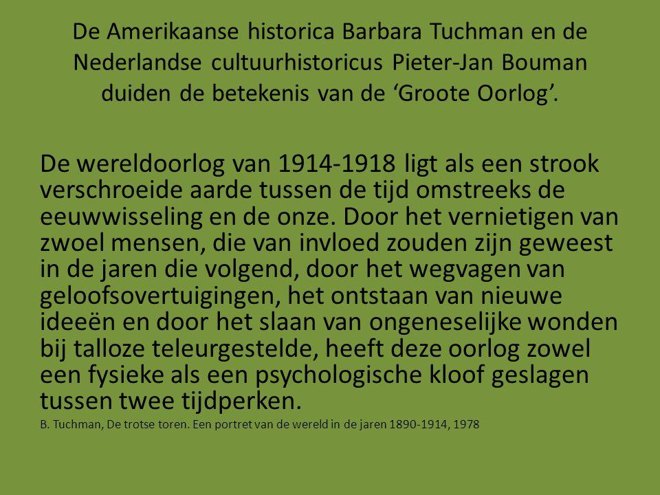 De Amerikaanse historica Barbara Tuchman en de Nederlandse cultuurhistoricus Pieter-Jan Bouman duiden de betekenis van de 'Groote Oorlog'. De wereldoo
