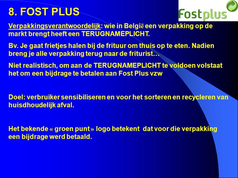 8. FOST PLUS Verpakkingsverantwoordelijk: wie in Belgi ë een verpakking op de markt brengt heeft een TERUGNAMEPLICHT. Bv. Je gaat frietjes halen bij d