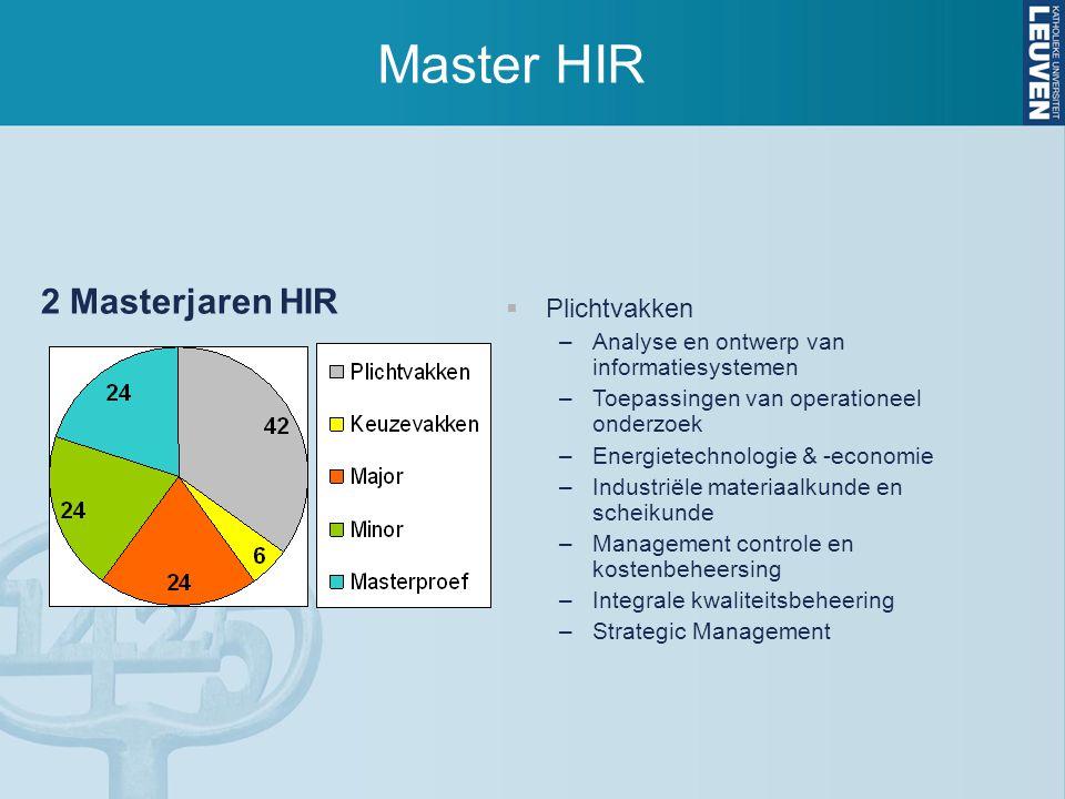Master HIR 2 Masterjaren HIR  Plichtvakken –Analyse en ontwerp van informatiesystemen –Toepassingen van operationeel onderzoek –Energietechnologie &