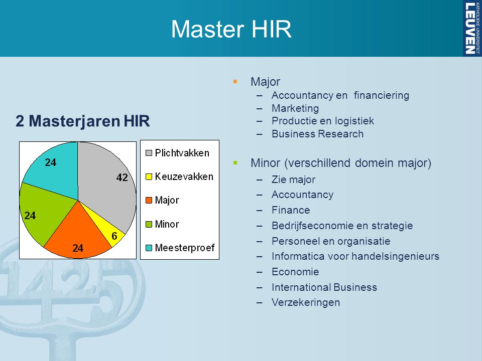 Master HIR  Major –Accountancy en financiering –Marketing –Productie en logistiek –Business Research  Minor (verschillend domein major) –Zie major –Accountancy –Finance –Bedrijfseconomie en strategie –Personeel en organisatie –Informatica voor handelsingenieurs –Economie –International Business –Verzekeringen 2 Masterjaren HIR
