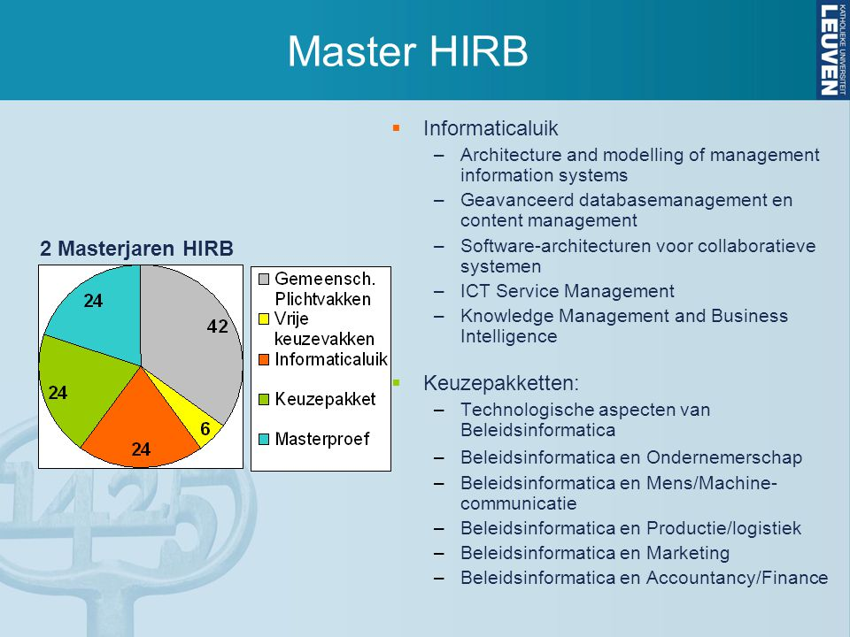 Master HIRB  Informaticaluik –Architecture and modelling of management information systems –Geavanceerd databasemanagement en content management –Software-architecturen voor collaboratieve systemen –ICT Service Management –Knowledge Management and Business Intelligence  Keuzepakketten: –Technologische aspecten van Beleidsinformatica –Beleidsinformatica en Ondernemerschap –Beleidsinformatica en Mens/Machine- communicatie –Beleidsinformatica en Productie/logistiek –Beleidsinformatica en Marketing –Beleidsinformatica en Accountancy/Finance 2 Masterjaren HIRB