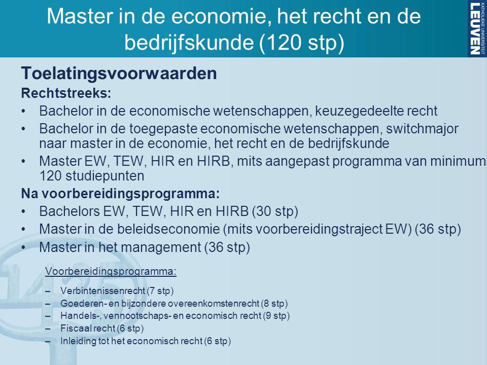 Toelatingsvoorwaarden Rechtstreeks: Bachelor in de economische wetenschappen, keuzegedeelte recht Bachelor in de toegepaste economische wetenschappen,