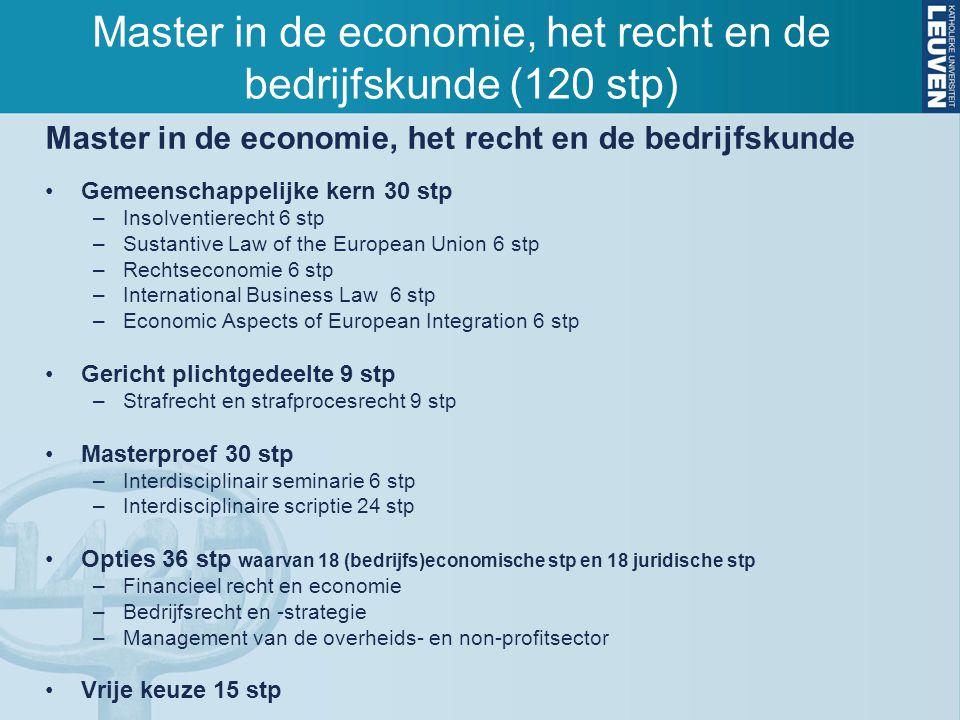 Master in de economie, het recht en de bedrijfskunde Gemeenschappelijke kern 30 stp –Insolventierecht 6 stp –Sustantive Law of the European Union 6 st