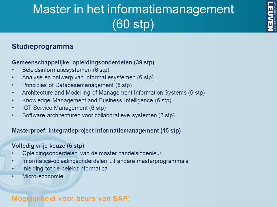 Studieprogramma Gemeenschappelijke opleidingsonderdelen (39 stp) Beleidsinformatiesystemen (6 stp) Analyse en ontwerp van informatiesystemen (6 stp) P
