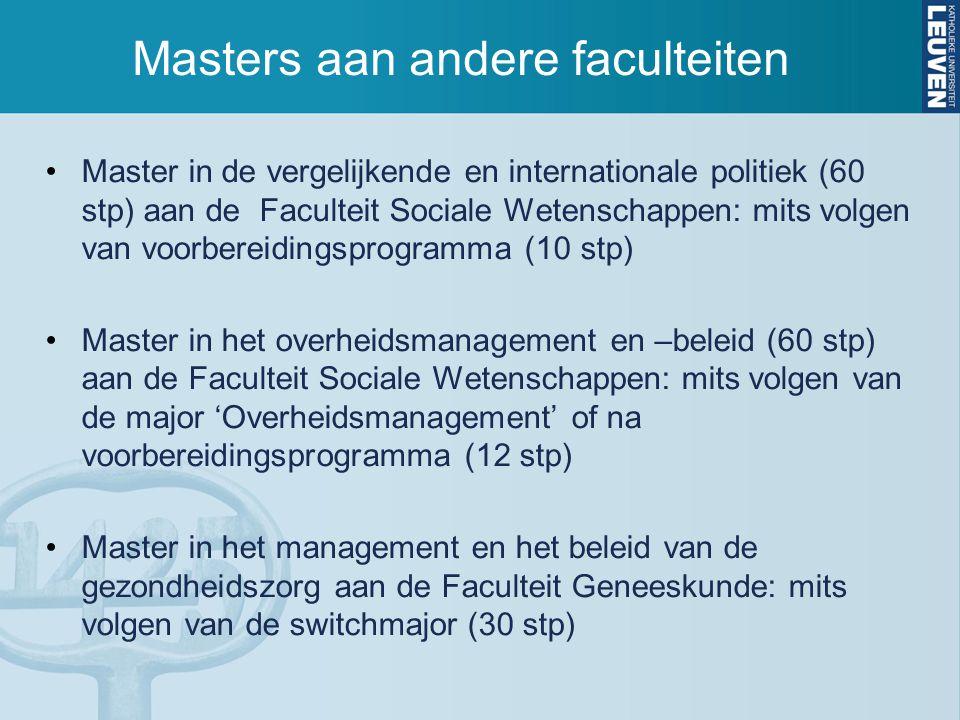 Masters aan andere faculteiten Master in de vergelijkende en internationale politiek (60 stp) aan de Faculteit Sociale Wetenschappen: mits volgen van