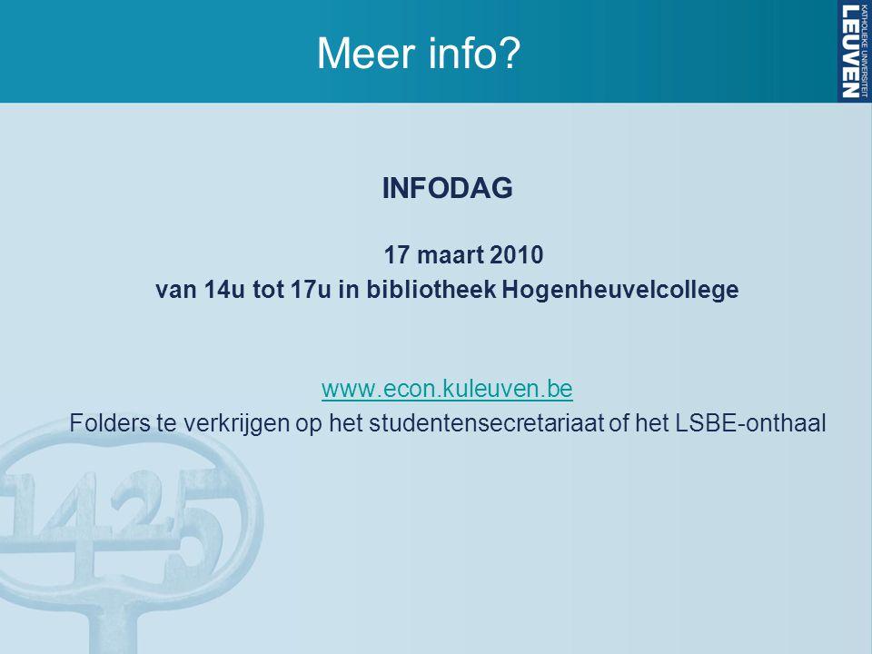 Meer info? INFODAG 17 maart 2010 van 14u tot 17u in bibliotheek Hogenheuvelcollege www.econ.kuleuven.be Folders te verkrijgen op het studentensecretar