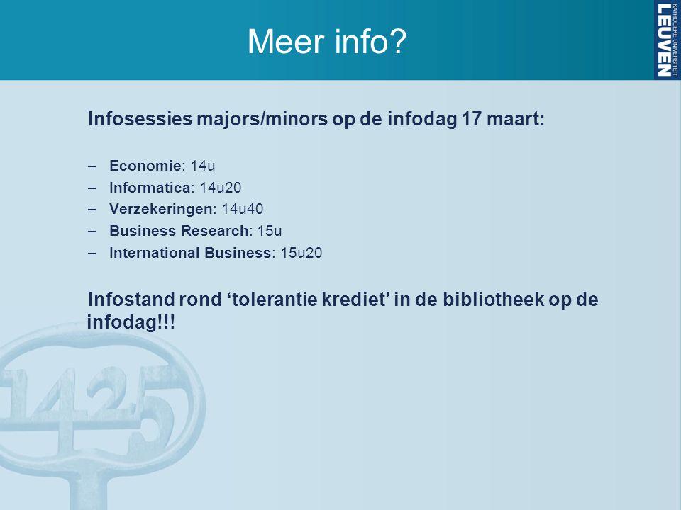 Meer info? Infosessies majors/minors op de infodag 17 maart: –Economie: 14u –Informatica: 14u20 –Verzekeringen: 14u40 –Business Research: 15u –Interna